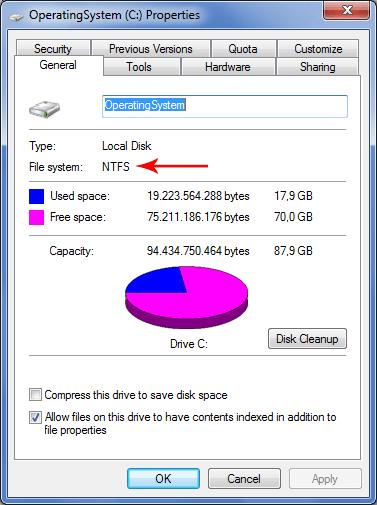 NTFS File System.