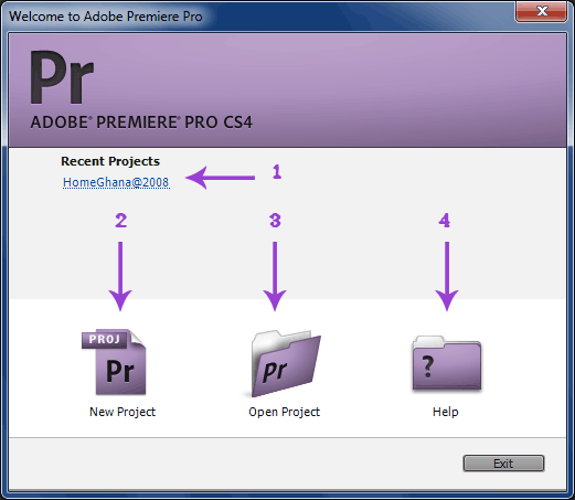 Premiere Pro cs4 welcome screen