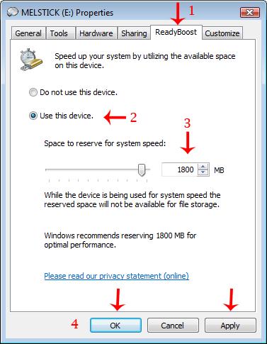 USB Memory Stick Properties -ReadyBoost