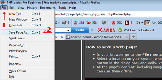 Saving a web page