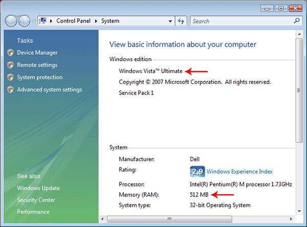 Vista with 512 MB RAM