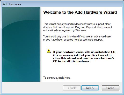 vista add hardware wizard-welcome notice