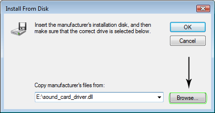 Browse to locate the downloaded manufacture driver file.