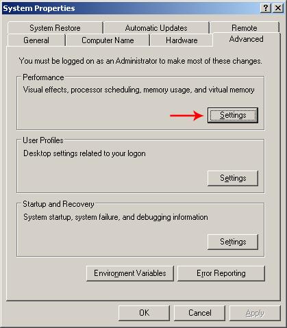 windows xp system properties dialog box.